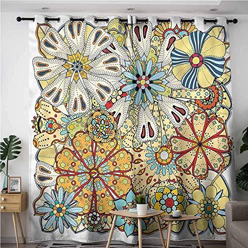 BE.SUN Living Room/Bedroom Window Curtains,Floral,Henna Paisley Mehndi Doodles,Room Darkening, Noise Reducing,W120x96L