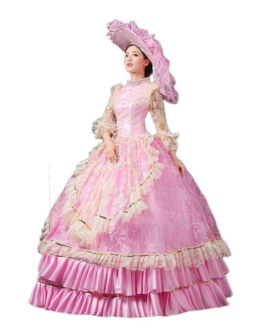 Zukzi Women's Ruffles Gothic Victorian Fancy Lolita Dress Costumes, Pink Size 8