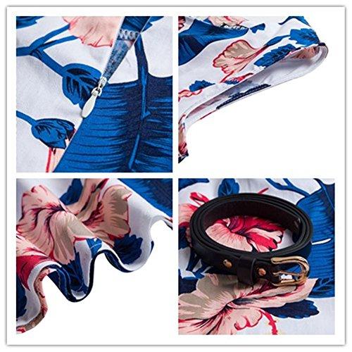 Mioloe Annes Avec Robe d't Ceinture 50's de Hepburn Pin Vintage Audrey Robe Cocktail Soire Bleu up trFwr4