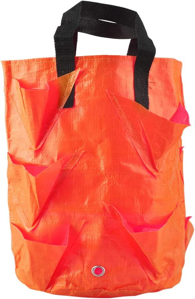 Apofly Plant Grow Bags Strawberry Planting Bag Hanging Flower Growing Container with Handles 10 Holes 3 Gallon Plastic Pouch for Garden Vegetable Potato (Orange)
