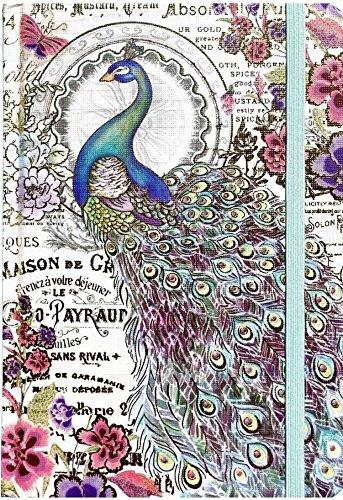 Punch Studio Hardcover Bungee Closure Gold Foil Embellished Journal - Bella Peacock 95084