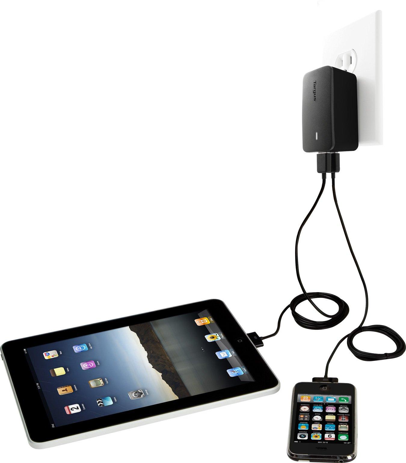 Targus Dual Charger for Apple iPad, iPad 2, new iPad (3rd Generation), 16GB, 32GB, 64GB WiFi + 4G, iPhone and iPod APA15US (Black)