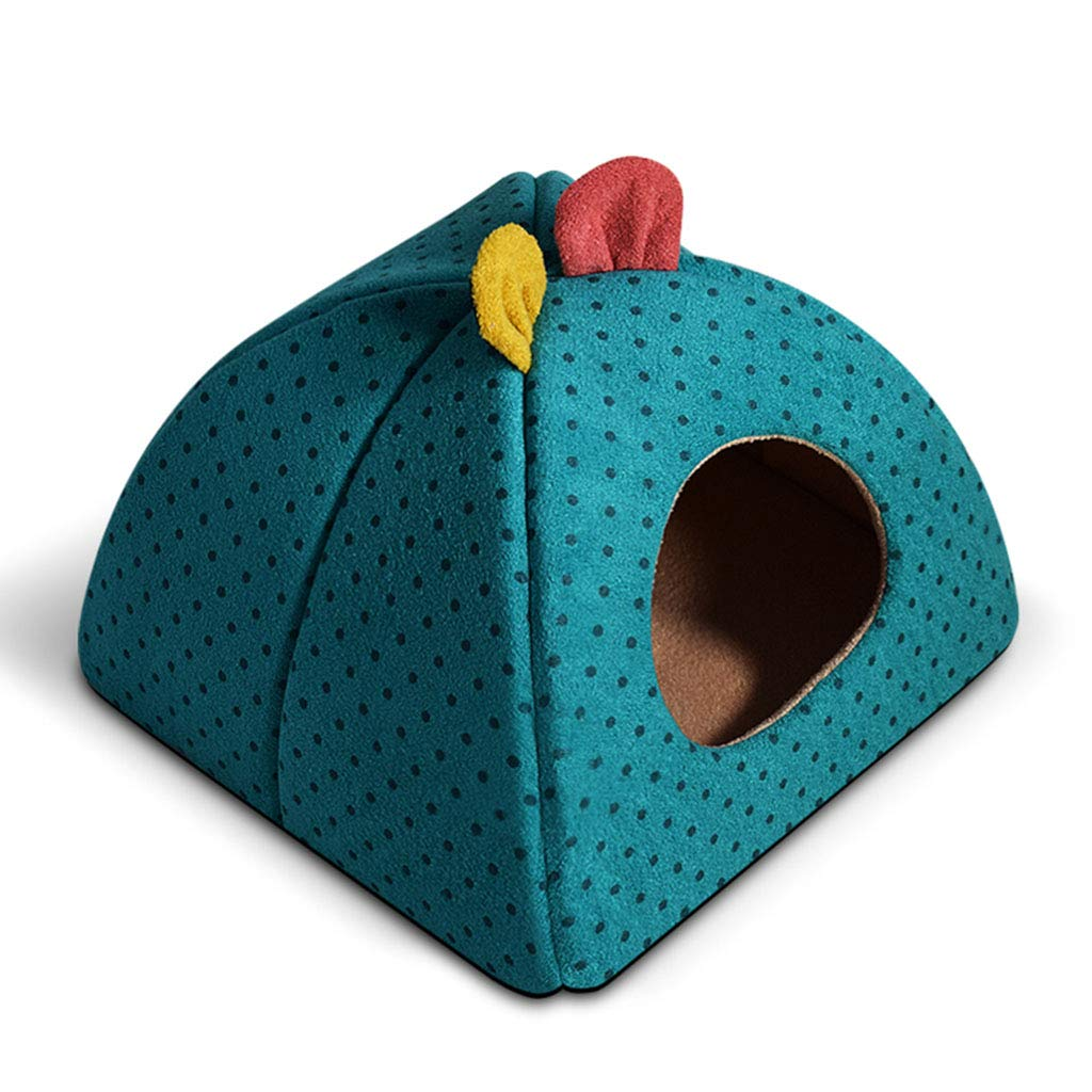 bluee 38×38×30cmPet Mat, Large Dog Kennel Cat House Removable and Washable Pet Nest WearResistant Bite Pet Bed (color   bluee, Size   38×38×30cm)