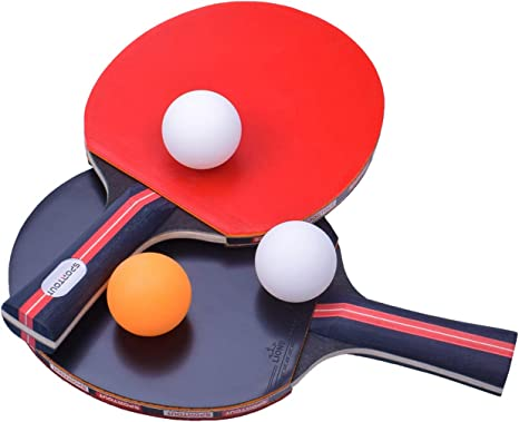 Plastic Table Tennis Racket Ping Pong Paddle Bat Set w// 2 Balls for Children Kid