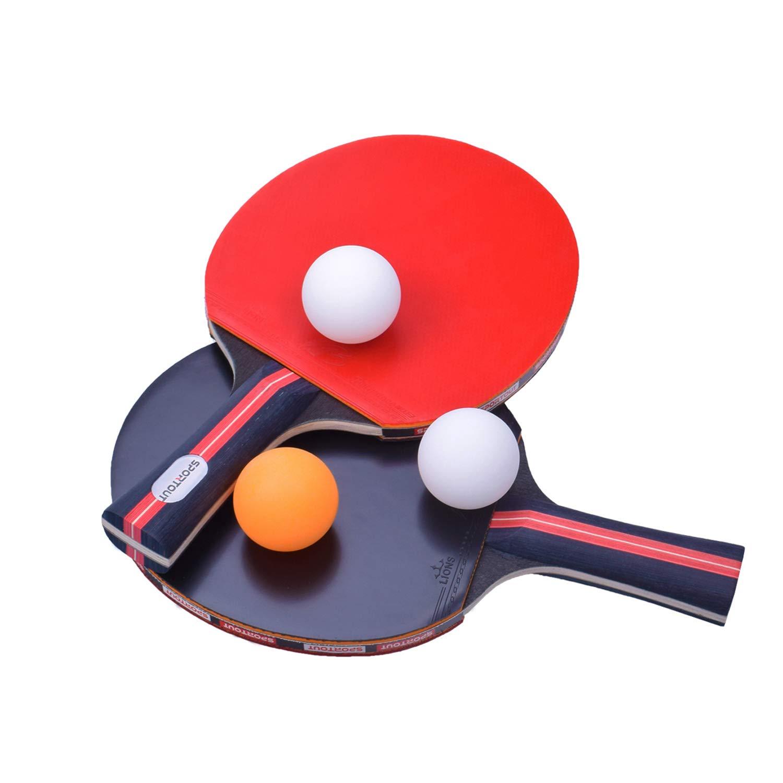 Sportout Table Tennis Racket, Ping Pong Paddle Set with 2 Bats and 3 Ping Pong Balls and Table Tennis Paddle Case by Sportout