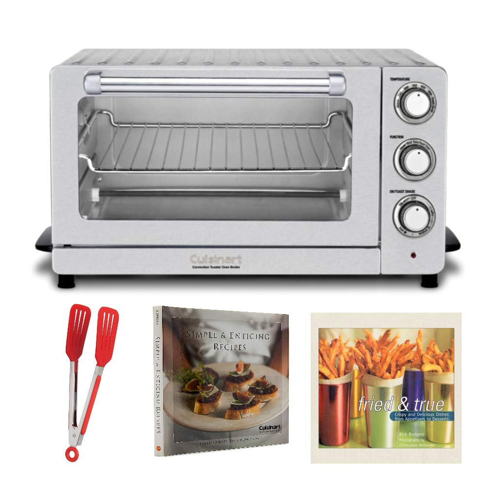 Cuisinart TOB-60NFR Toaster Oven Broiler with Convection Includes Flipper Tongs and 2 Cookbooks (Renewed)