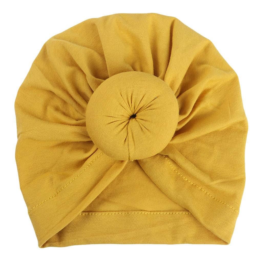 ❤️ Mealeaf ❤️ Baby Turban Toddler Kids Boy Girl India Hat Lovely Soft Hat (Yellow,)