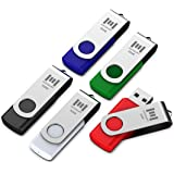 mosDART 5 X 32GB USB 2.0 Flash Drive Swivel Bulk Thumb Drives Jump Drive Zip Drive Memory Sticks with Led Indicator,Black/Blue/Red/White/Green(32GB,5pack Mix Color)
