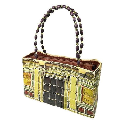 54f18d6a91d PERLETTI Bolso de Hombro para Mujer en Madera de Bamboo - Bolsa de Mano de  Estilo Étnico ...