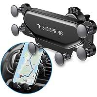 Teléfono móvil actualizado Cunas para automóviles Ventilación de aire Soporte para montaje de automóviles Bloqueo automático retráctil automático con protector de choque neumático para teléfonos inteligentes de 4.7 a 6.8 pulgadas (negro)