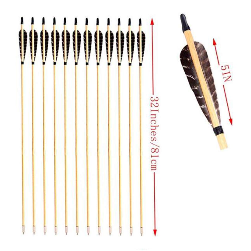 PG1ARCHERY Archery Wooden Arrows, Eagle Parabolic Turkey Feathers Fletching with Field Points Hunting Practice Targeting Arrow for Recurve Traditional Bow & Longbow(Pack of 12) by PG1ARCHERY (Image #2)