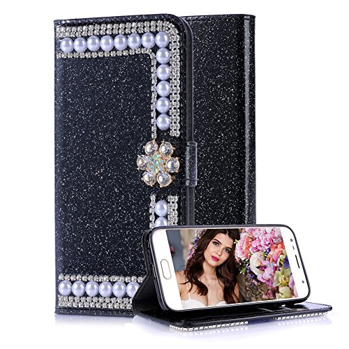For Samsung Galaxy J5 J510 2016 Leather Wallet Case, Aearl Crystal Glitter Pearl PU Flip Book Cover [Screen Protector] [Diamond Flower Buckle] with Card Holder Stand for Samsung Galaxy J5 2016,Black