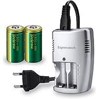 Expresstech @ 2PCs CR123A Pilas Batería de Litio 1200mAh CR-123A batería Recargable + Cargador para la Linterna cámara Digital videocámara Juguetes antorcha