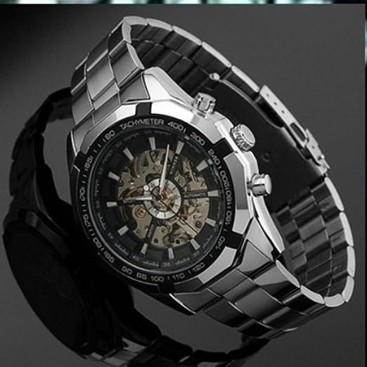 99c6a2fa477 Amazon.com  Sportsy Eletronico 2014 Novos Homens Designer De Moda Relogios  Esqueleto Automatica Relogio Mecanico Relogios A Prova D Agua Silver    Black ...