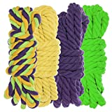 Twisted 3 Strand Natural Cotton Rope 40 and 100 Foot Kits in 1/4 Inch and 1/2 Inch – Soft Knot Tying Artisan Cord Decorative Crafting – Assorted Colors