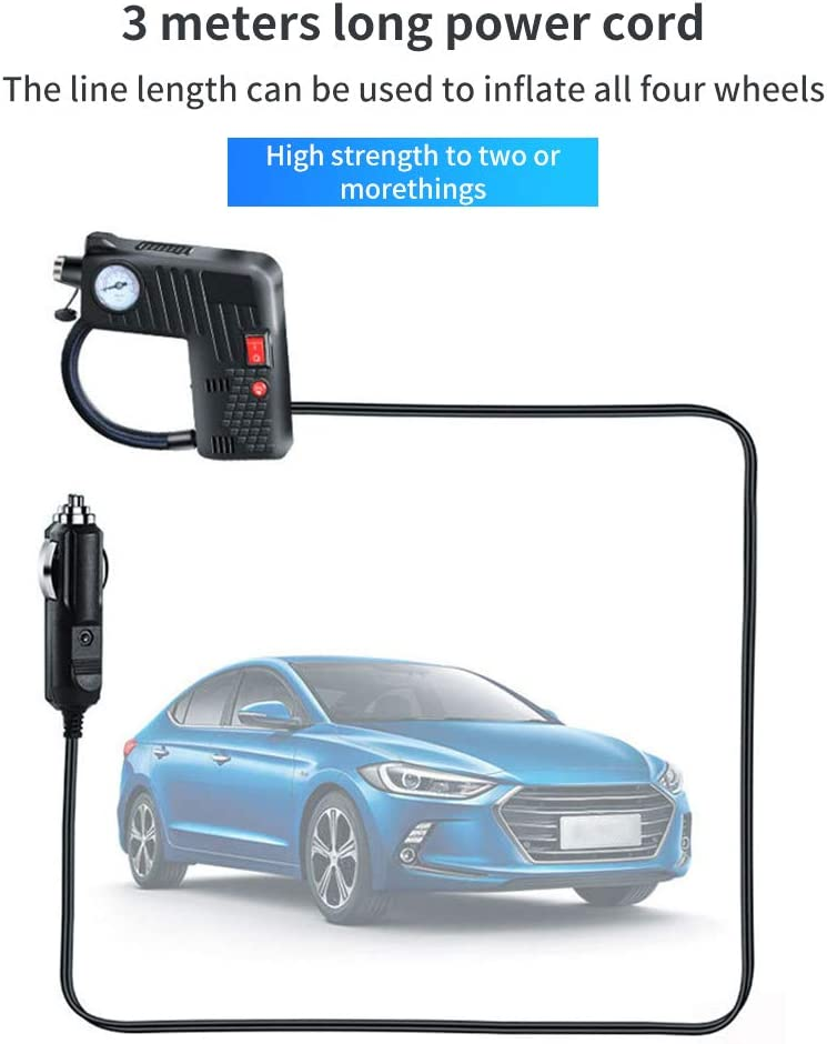 DC 12V 80W Portable Electric Air Compressor Pump Car Tool for Motorcycle Bike Vvciic 5-in-1 Tire Inflator