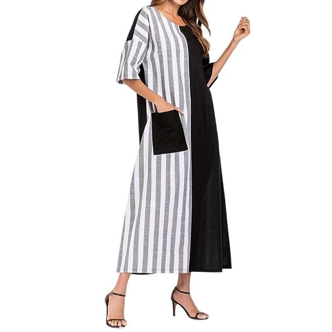 885f9230f4f Amazon.com  Women s Summer Beach Dresses Striped Crew Neck Pockets Short  Sleeve Plus Size Kaftan Casual Loose Long Maxi Dress  Clothing