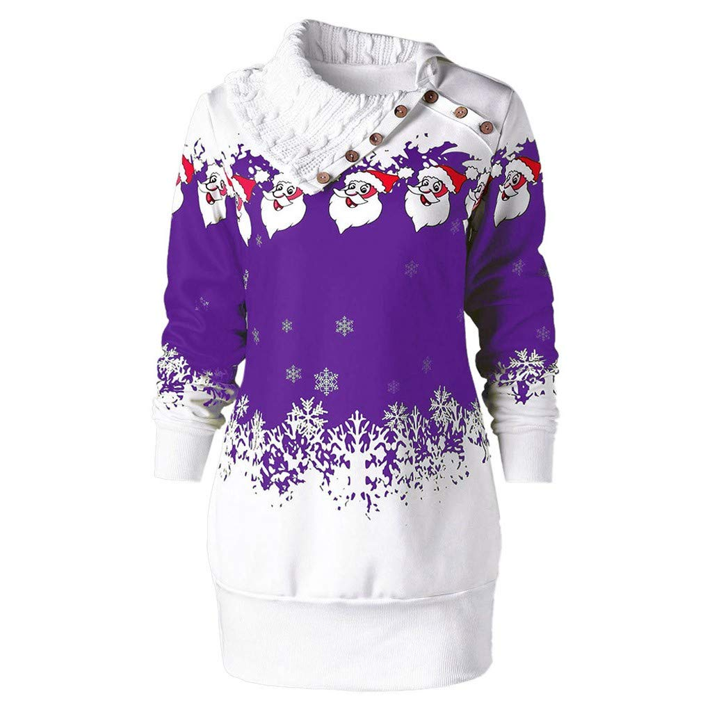 AMhomely Womens Blouses and Shirts Sale Autumn Winter Plus Size Tops Ladiess Christmas Santa Claus Snowflake Print Buttons Tunic Long Sweatshirt Top UK Size 18 16 14 10 22 24 28