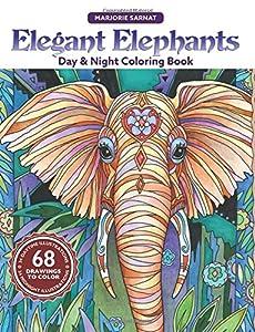 Elegant Elephants Day & Night Coloring Book