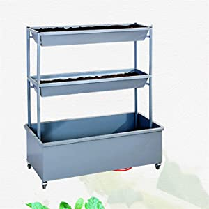 Jin-Siu Garden Bed Raised Elevated Planter Box Vertical Raised Garden Bed With Wheels Elevated Planter Water Drainage Freestanding 3 Container Boxes For Vegetables Flowers Growing Outdoor Indoor Patio