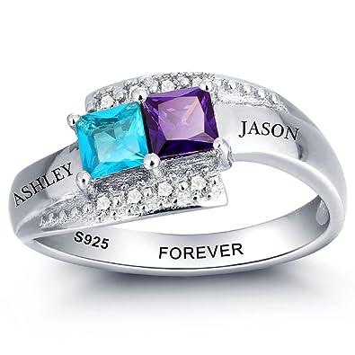 Amazon Com Diamondido Personalized Simulated Birthstone Rings For