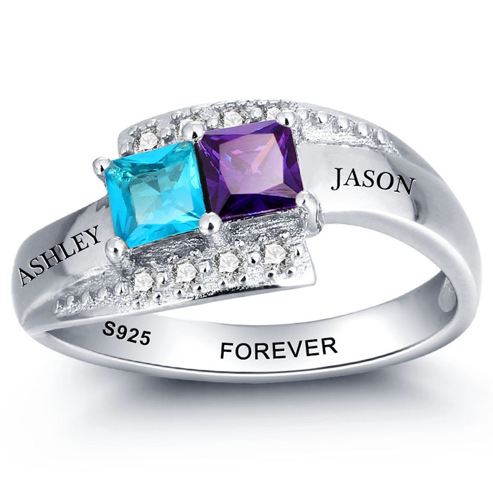 Diamondido Personalized Simulated Birthstone Rings for Couple Custom Engraved Names Promise Lover Rings for Women (8)