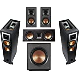 Klipsch 2 Pack R-26FA Dolby Atmos Speaker - Bundle with R-41M Bookshelf Home Speakers, R-25C Center Channel, R-12SWi 12-inch