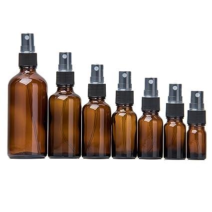 ulofpc Botellas vacías de Vidrio ámbar (7 Piezas) - Envases rellenables para aceites Esenciales