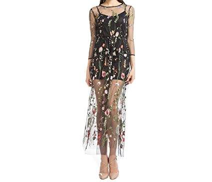 Collocation-Online Embroidery Flower Casual Dress Summer Mesh Maxi Dress Black Dresses Long Sexy Dress