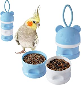 Portable Bird Feeder Cups Bird Food Water Treat Box Parrot Food Storage Container,Pet Travel Feeder