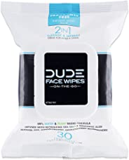 DUDE Face & Body Wipes 30 Count Unscented for Sensitive Skin Infused with Refreshing Sea Salt & Soothing Aloe, Moisturizing