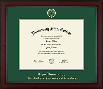 Amazon Com Ohio University Russ College Of Engineering And Technology Officially Licensed Gold Embossed Diploma Frame Diploma Size 14 X 11