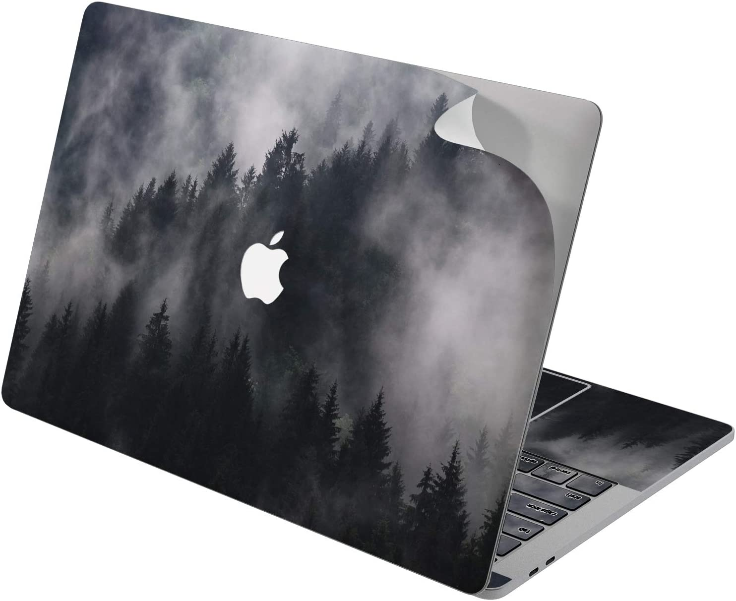 "Cavka Vinyl Decal Skin for Apple MacBook Pro 13"" 2019 15"" 2018 Air 13"" 2020 Retina 2015 Mac 11"" Mac 12"" Basic Grey Nature Laptop Pine Black Trendy Cover Sticker Misty Forest Print Design Protective"