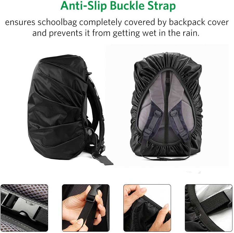 Rain Cover for Backpack Backpack Rain Cover w//Reflective Strap Anti-Slip Buckle Strap Reinforced Waterproof Coating Waterproof Backpack Cover for Outdoor Activities Rainproof Storage Pouch
