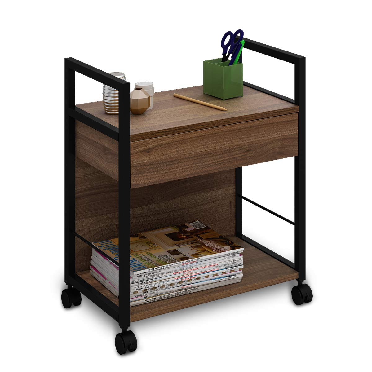 WLIVE Mobile Printer Stand, Office Serving Cart, Computer Side Table Machine Cart Stand with Storage Drawer for Home Office by WLIVE (Image #1)