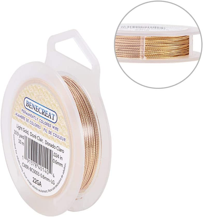 BENECREAT 22 Gauge//0.6mm Twist Copper Wire 10 Meters Tarnish Resistant Red Copper Wire for Crafts Jewelry Making