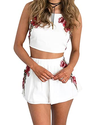 Amazon.com  Sanifer Embroidered Strapped Crop Top with Elastic Waist Shorts  Bohemian 2 Pieces Outfits  Clothing b959583db