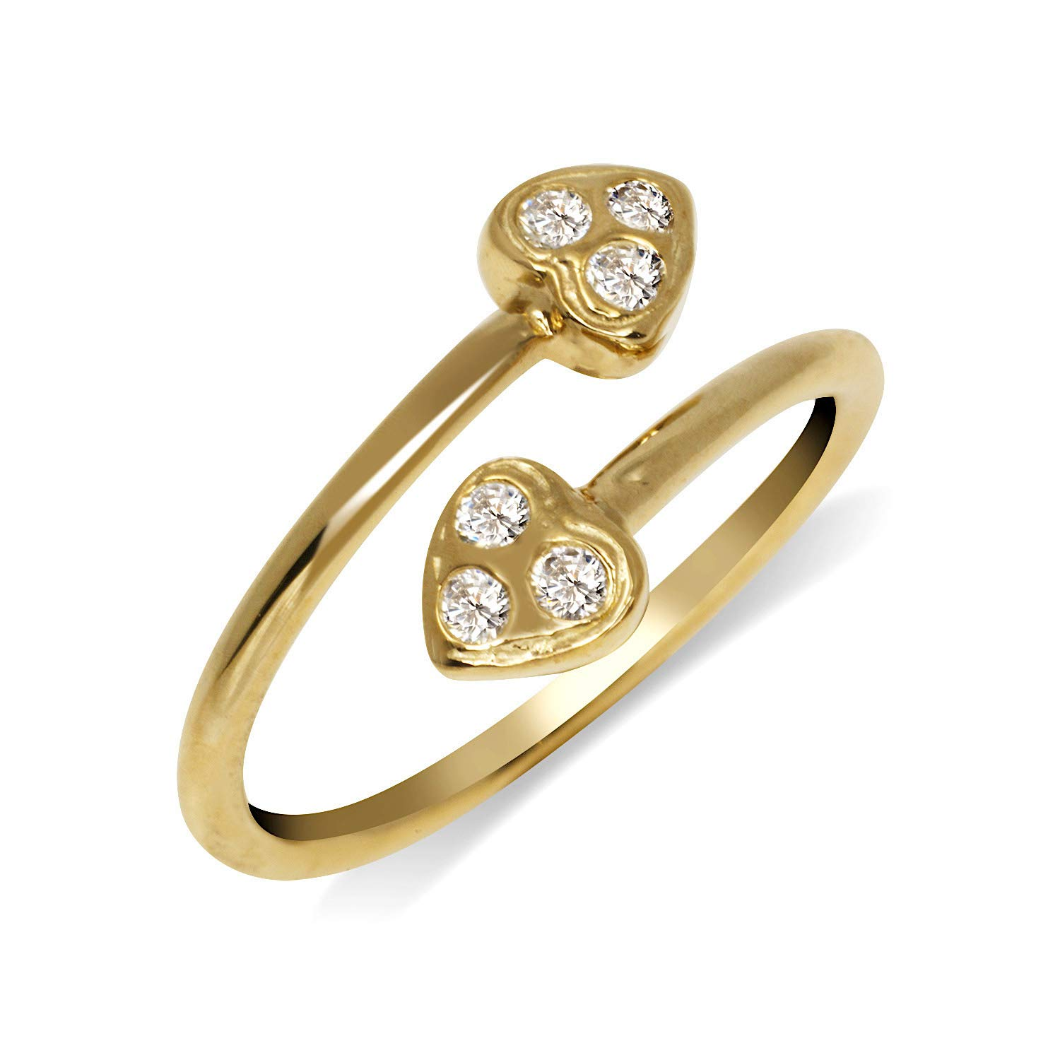 JewelryWeb Solid 10K Yellow or White Gold Small Heart Bypass Adjustable Cubic Zirconia CZ Toe Ring (10mmx15mm) (Yellow-Gold)