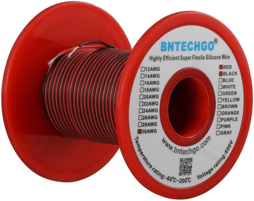 BNTECHGO 30 Gauge Silicone wire spool red and black each 50ft Flexible 30 AWG Stranded Copper Wire