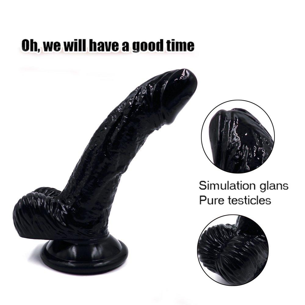 FUSHENG Real Dong (15cm), consolador Realista, para Mujeres, con testículos Resistente y Ventosa Firme, Flexible y Resistente testículos al Agua,Black 9e3ed0