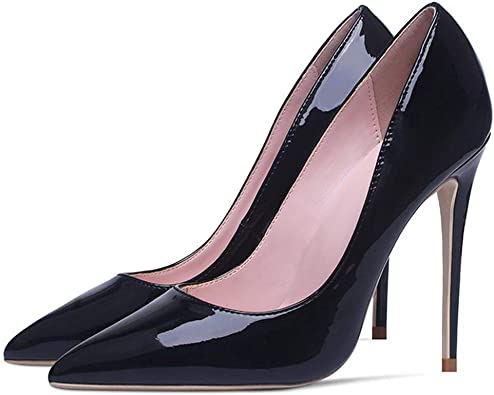 ladies Womens Patent Leather Pointed Toe High Heel Platform Court Wedding Shoes