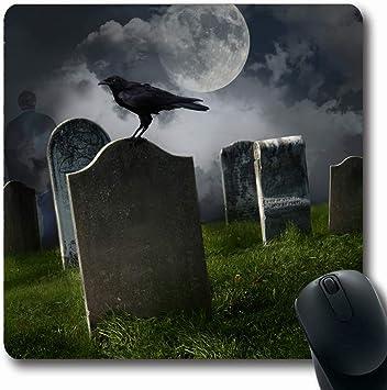 Alfombrillas Misterio Cementerio del Cementerio Cementerios Antiguos Luna Negro Cuervo Vacaciones Naturaleza Muerte Piedra sepulcral Sepulcro Juego Antideslizante Alfombrilla de ratón Estera Oblonga: Amazon.es: Electrónica