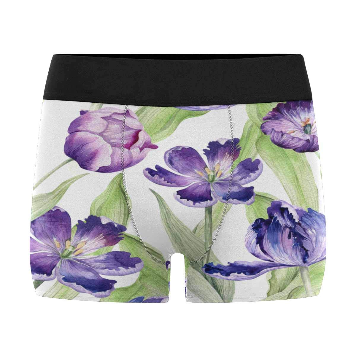XS-3XL INTERESTPRINT Mens Boxer Briefs Watercolor Flowers Contour