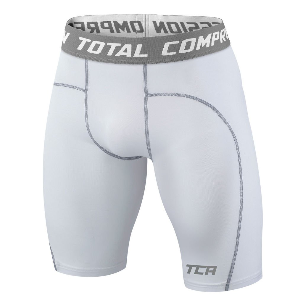 TCA Men's Boys Pro Performance Compression Base Layer Thermal Under Shorts - Pro White 12-14 Years by TCA