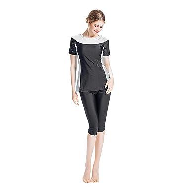 94c7e7b250a XINHUXIN Women Modest Two Piece Bathing Suit Muslim Islamic Burkini Plus  Size Swimwear Black