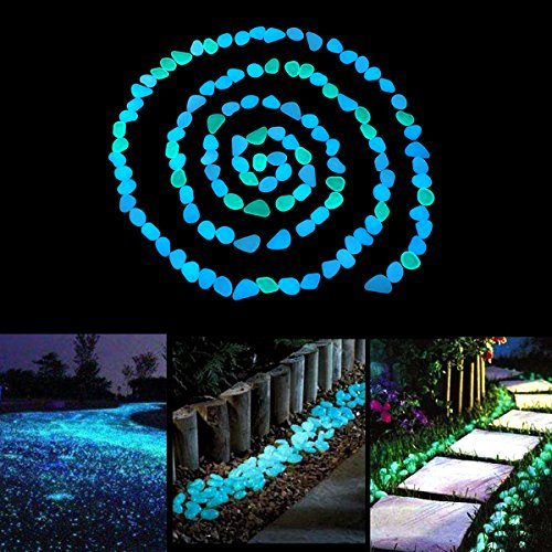 Unime Glow in the Dark Garden Pebbles Stones Rocks for Yard and Walkways Decor, DIY Decorative Luminous Stones in Blue (200 PCS) by Unime (Image #2)