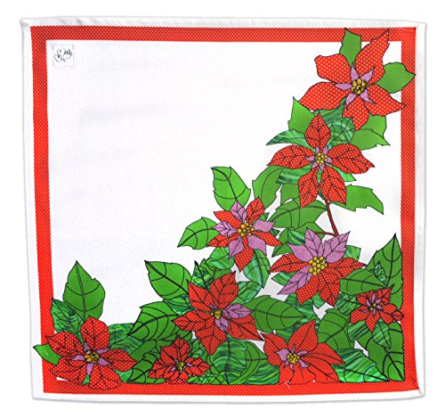 MollyMac Poinsettia Christmas Napkins (2) Xmas Star Large SERVIETTES Perfect Thank You Gift, Present for Holidays. Quirky Seasonal Print. Made in UK. 100% Cotton 18