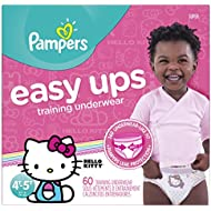 Pampers Easy Ups Training Pants Pull On Disposable Diapers for Girls Size 6 (4T-5T), 60 Count, SUPER