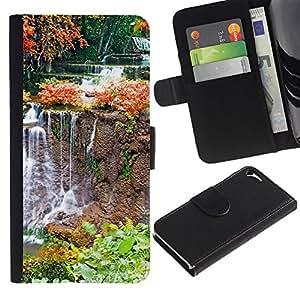 Billetera de Cuero Caso del tirón Titular de la tarjeta Carcasa Funda del zurriago para Apple Iphone 5 / 5S / Business Style Nature Waterfall