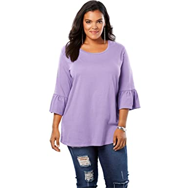 2a396b280e Roamans Women s Plus Size Bell-Sleeve Ultimate Tee with Scoop Neck at  Amazon Women s Clothing store